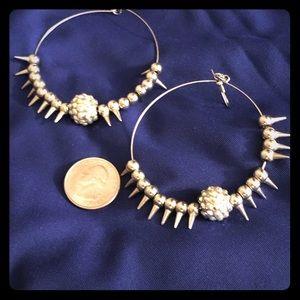 Jewelry - Silver spike hoops